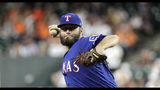 Texas Rangers starting pitcher Lance Lynn throws against the Houston Astros during the first inning of a baseball game Tuesday, Sept. 17, 2019, in Houston. (AP Photo/David J. Phillip)