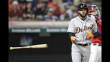 Detroit Tigers' Ronny Rodriguez throws his bat after striking out during the fourth inning of the team's baseball game against the Cleveland Indians, Tuesday, Sept. 17, 2019, in Cleveland. (AP Photo/Tony Dejak)