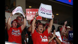 Supporters of President Donald Trump cheer during a campaign rally at the Santa Ana Star Center, Monday, Sept. 16, 2019, in Rio Rancho, N.M. (AP Photo/Andres Leighton)