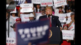 President Donald Trump speaks during a campaign rally at the Santa Ana Star Center, Monday, Sept. 16, 2019, in Rio Rancho, N.M. (AP Photo/Andres Leighton)