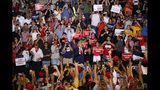 President Donald Trump is cheered by supporters upon his arrival to a campaign rally at the Santa Ana Star Center, Monday, Sept. 16, 2019, in Rio Rancho, N.M. (AP Photo/Andres Leighton)