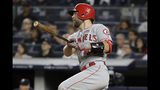 Los Angeles Angels' Kevan Smith watches his RBI single during the third inning of the team's baseball game against the New York Yankees on Wednesday, Sept. 18, 2019, in New York. (AP Photo/Frank Franklin II)