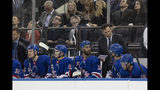 New York Rangers coach David Quinn gives his team instructions during the first period of a preseason NHL hockey game against the New Jersey Devils, Wednesday, Sept. 18, 2019, at Madison Square Garden in New York. (AP Photo/Mary Altaffer)