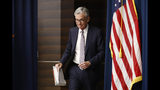 Federal Reserve Board Chair Jerome Powell walks to a podium to speak at a news conference following a two-day meeting of the Federal Open Market Committee, Wednesday, Sept. 18, 2019, in Washington. (AP Photo/Patrick Semansky)