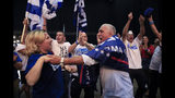 Israeli Prime Minister Benjamin Netanyahu supporters chant as the await results of the elections in Tel Aviv, Israel, Tuesday, Sept. 17, 2019. (AP Photo/Tsafrir Abayov)