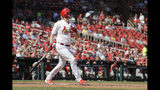 St. Louis Cardinals' Matt Wieters watches his two-run home run during the seventh inning of a baseball game against the Washington Nationals Wednesday, Sept. 18, 2019, in St. Louis. (AP Photo/Jeff Roberson)