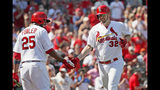 St. Louis Cardinals' Matt Wieters (32) is congratulated by teammate Dexter Fowler (25) after hitting a two-run home run during the seventh inning of a baseball game against the Washington Nationals Wednesday, Sept. 18, 2019, in St. Louis. (AP Photo/Jeff Roberson)