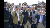 World War II veterans Clarence Smoyer, 96, left, Joseph Caserta and Buck Marsh salute during a ceremony to present the Bronze Star to Smoyer at the World War II Memorial, Wednesday, Sept. 18, 2019, in Washington. Smoyer fought with the U.S. Army's 3rd Armored Division, nicknamed the Spearhead Division. In 1945, he defeated a German Panther tank near the cathedral in Cologne, Germany - a dramatic duel filmed by an Army cameraman that was seen all over the world. (AP Photo/Alex Brandon)