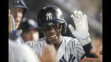 New York Yankees' Cameron Maybin celebrates after hitting a home run during the eighth inning of a baseball game against the Los Angeles Angels, Thursday, Sept. 19, 2019, in New York. (AP Photo/Mary Altaffer)
