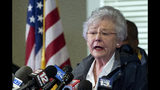 """FILE - In this March 4, 2019, file photo, Alabama Gov. Kay Ivey speaks at a news conference in Beauregard, Ala. Ivey apologized after a 1967 college radio interview surfaced of her then-fiance Ben LaRavia describing her wearing """"black paint all over her face"""" in a skit at a Baptist student organization. Her office released the audio after university officials discovered it while working to preserve old records. (AP Photo/Vasha Hunt, File)"""