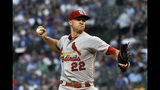 St. Louis Cardinals starting pitcher Jack Flaherty delivers during the first inning of a baseball game against Chicago Cubs the Thursday, Sept. 19, 2019, in Chicago. (AP Photo/Matt Marton)
