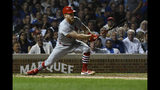 St. Louis Cardinals' Harrison Bader hits an RBI-single during the fifth inning of a baseball game against the Chicago Cubs, Thursday, Sept. 19, 2019, in Chicago. (AP Photo/Matt Marton)