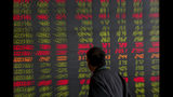 A man looks at an electronic board displaying stock prices at a brokerage house in Beijing, Thursday, Sept. 19, 2019. Shares were mixed in Asia on Thursday, with Tokyo and Sydney logging modest gains after the Federal Reserve cut its benchmark interest rate for a second time this year, citing slowing global economic growth and uncertainty over U.S. trade conflicts. (AP Photo/Andy Wong)