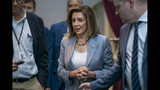 Speaker of the House Nancy Pelosi, D-Calif., arrives for a closed-door meeting with the House Democratic Caucus, Wednesday, Sept. 18, 2019, at the Capitol in Washington. (AP Photo/J. Scott Applewhite)