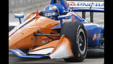 FILE - In this June 2, 2019, file photo, Scott Dixon races during the second race of the IndyCar Detroit Grand Prix doubleheader in Detroit. The IndyCar finale is this weekend at Laguna Seca Raceway in Monterey, Calif. (AP Photo/Paul Sancya, File)