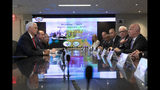 Vice President Mike Pence, left, meets with James O'Neill, right, New York Police Department Commissioner, and staff Thursday, Sept. 19, 2019 for a counterterrorism meeting. (AP Photo/Mark Lennihan)