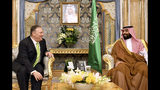 U.S. Secretary of State Mike Pompeo, left, meets with Saudi Arabia's Crown Prince Mohammed bin Salman in Jeddah, Saudi Arabia, on Wednesday, Sept 18, 2019. (Mandel Ngan/Pool Photo via AP)
