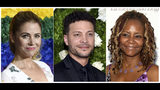 This combination photo shows, from left, Kerry Butler, Justin Guarini and Tonya Pinkins who host podcasts on the new Broadway Podcast Network where some 1,200 podcast episodes are available. (AP Photo)
