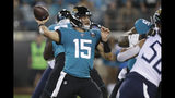 Jacksonville Jaguars quarterback Gardner Minshew II (15) throws a pass against the Tennessee Titans during the first half of an NFL football game Thursday, Sept. 19, 2019, in Jacksonville, Fla. (AP Photo/Chris O'Meara)