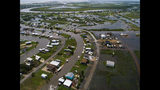 According to Matagorda County Constable Bill Orton, Sargent received 22 inches of rain since Imelda started impacted the area on Tuesday. Photographed from above Sargent, Texas, Wednesday, Sept. 18, 2019. ( Mark Mulligan/Houston Chronicle via AP)