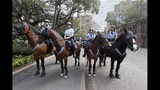 "Mounted police block a path as thousands of protestors, many of them school students, attempt to march on the streets in Sydney, Friday, Sept. 20, 2019, calling for action to guard against climate change. Australia's acting prime minister Michael McCormack has described ongoing climate rallies as ""just a disruption"" that should have been held on a weekend to avoid inconveniencing communities. (AP Photo/Rick Rycroft)"