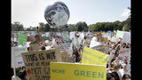 "A large inflatable globe is bounced through the crowd as thousands of protestors, many of them school students, gather in Sydney, Friday, Sept. 20, 2019, calling for action to guard against climate change. Australia's acting Prime Minister Michael McCormack has described ongoing climate rallies as ""just a disruption"" that should have been held on a weekend to avoid inconveniencing communities. (AP Photo/Rick Rycroft)"