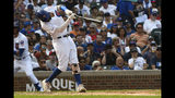Chicago Cubs' Nicholas Castellanos hits a double during the fifth inning of a baseball game against the St. Louis Cardinals, Friday, Sept. 20, 2019, in Chicago. (AP Photo/Matt Marton)