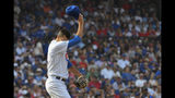 Chicago Cubs relief pitcher Steve Cishek (41) during the sixth inning of a baseball game against the St. Louis Cardinals, Friday, Sept. 20, 2019, in Chicago. (AP Photo/Matt Marton)