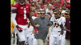 Central Michigan head coach Jim McElwain watches during the first half of an NCAA college football game against Wisconsin Saturday, Sept. 7, 2019, in Madison, Wis. (AP Photo/Morry Gash)