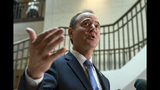 House Intelligence Committee Chairman Adam Schiff, D-Calif., speaks to reporters after the panel met behind closed doors with national intelligence inspector general Michael Atkinson about a whistleblower complaint, at the Capitol in Washington, Thursday, Sept. 19, 2019. (AP Photo/J. Scott Applewhite)