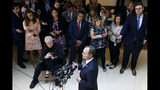 Rep. Adam Schiff, D-Calif., chairman of the House Intelligence Committee, speaks with reporters about a whistleblower complaint Thursday, Sept. 19, 2019, on Capitol Hill in Washington. Schiff says he cannot confirm a press report that said a whistleblower's complaint concerned a promise President Donald Trump made on a phone call to a foreign leader. (AP Photo/Patrick Semansky)