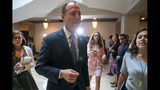 House Intelligence Committee Chairman Adam Schiff, D-Calif., departs after speaking to reporters after the panel met behind closed doors with national intelligence inspector general Michael Atkinson about a whistleblower complaint, at the Capitol in Washington, Thursday, Sept. 19, 2019. (AP Photo/J. Scott Applewhite)