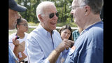 Democratic presidential candidate former Vice President Joe Biden talks with audience members during a town hall meeting at the Indian Creek Nature Preserve, Friday, Sept. 20, 2019, in Cedar Rapids, Iowa. (AP Photo/Charlie Neibergall)