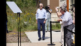 Democratic presidential candidate former Vice President Joe Biden arrives at a town hall meeting at the Indian Creek Nature Preserve, Friday, Sept. 20, 2019, in Cedar Rapids, Iowa. (AP Photo/Charlie Neibergall)