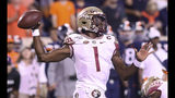 Florida State quarterback James Blackman passes the ball during the first half of an NCAA college football game against Virginia in Charlottesville, Va., Saturday, Sept. 14, 2019. (AP Photo/Andrew Shurtleff)