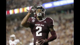 Texas A&M wide receiver Jhamon Ausbon (2) reacts after catching a touchdown against Lamar during the second half of an NCAA college football game, Saturday, Sept. 14, 2019, in College Station, Texas. (AP Photo/Sam Craft)