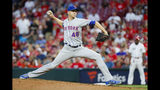 New York Mets starting pitcher Jacob deGrom throws in the second inning of a baseball game against the Cincinnati Reds, Friday, Sept. 20, 2019, in Cincinnati. (AP Photo/John Minchillo)