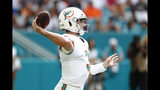Miami Dolphins quarterback Josh Rosen (3) looks to pass, during the second half at an NFL football game against the New England Patriots, Sunday, Sept. 15, 2019, in Miami Gardens, Fla. (AP Photo/Brynn Anderson)