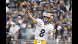 Pittsburgh quarterback Kenny Pickett (8) passes in the second quarter of an NCAA college football game against Penn State in State College, Pa., on Saturday, Sept. 14, 2019. (AP Photo/Barry Reeger)