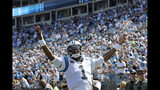 Carolina Panthers quarterback Cam Newton (1) celebrates following running back Christian McCaffrey's touchdown against the Los Angeles Rams during the second half of an NFL football game in Charlotte, N.C., Sunday, Sept. 8, 2019. (AP Photo/Mike McCarn)