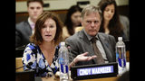 FILE- In this May 3, 2018 file photo, Fred Warmbier, right, listens as his wife Cindy Warmbier, speaks of their son Otto Warmbier, an American who died in 2017 days after his release from captivity in North Korea, during a meeting at the United Nations headquarters. An administration official said President Donald Trump will host the parents of Otto Warmbier, Saturday, Sept. 14, 2019. (AP Photo/Frank Franklin II)
