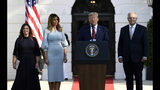 President Donald Trump speaks as he and first lady Melania Trump welcome Australian Prime Minister Scott Morrison and his wife Jenny Morrison during a state arrival ceremony on the South Lawn of the White House in Washington, Friday, Sept. 20, 2019. (AP Photo/Susan Walsh)