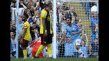 Manchester City's Bernardo Silva, right, celebrates after scoring his sides sixth goal during the English Premier League soccer match between Manchester City and Watford at Etihad stadium in Manchester, England, Saturday, Sept. 21, 2019. (AP Photo/Rui Vieira)