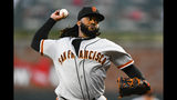 San Francisco Giants' Johnny Cueto pitches against the Atlanta Braves during the first inning of a baseball game, Saturday, Sept. 21, 2019, in Atlanta. (AP Photo/John Amis)