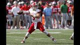 Miami (Ohio) quarterback Brett Gabbert drops back to pass against Ohio State during the first half of an NCAA college football game Saturday, Sept. 21, 2019, in Columbus, Ohio. (AP Photo/Jay LaPrete)