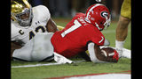 Georgia running back D'Andre Swift (7) scores a touchdown in the first half of an NCAA football game against Notre Dame in Athens, Ga., Saturday, Sept. 21, 2019. (Joshua L. Jones/Athens Banner-Herald via AP)