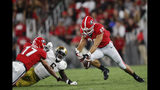 Georgia tight end Charlie Woerner (89) recovers ahis own fumble after a catch against Notre Dame during the first half of an NCAA college football game, Saturday, Sept. 21, 2019, in Athens, Ga. (AP Photo/John Bazemore)