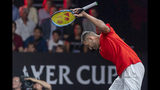 Team World's Nick Kyrgios reacts after losing a point against Team Europe's Roger Federer during their match at the Laver Cup tennis event in Geneva, Switzerland, Saturday, Sept. 21, 2019. (Martial Trezzini/Keystone via AP)