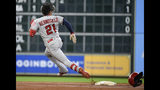 Los Angeles Angels' Michael Hermosillo runs to third after hitting a triple during the second inning of a baseball game against the Houston Astros, Sunday, Sept. 22, 2019, in Houston. (AP Photo/Eric Christian Smith)
