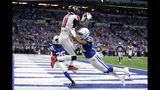 Atlanta Falcons wide receiver Julio Jones (11) makes a touchdown reception against Indianapolis Colts' Quincy Wilson (31) during the second half of an NFL football game, Sunday, Sept. 22, 2019, in Indianapolis. (AP Photo/Michael Conroy)
